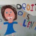 Fresque réalisée sur le mur du centre par les enfants
