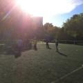 arrivée au stade... sous le soleil !