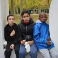 Nos 3 garçons Korhom, concentrés pour goûter :-)
